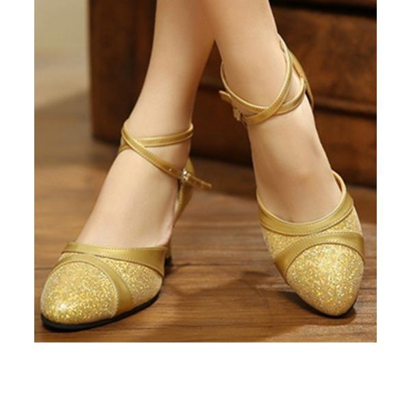 Женщины Мерцающая отделка На каблуках Бальные танцы с Ремешок на щиколотке Обувь для танцев