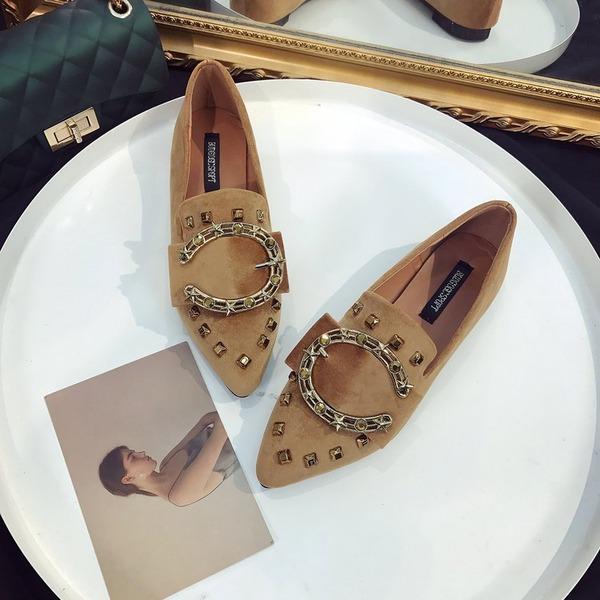 Vrouwen Suede Flat Heel Flats Closed Toe met Klinknagel schoenen