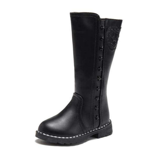 Jentas Round Toe Lukket Tå Knehøye Støvler Leather flat Heel Støvler Sneakers & Athletic Flower Girl Shoes med Glidelås