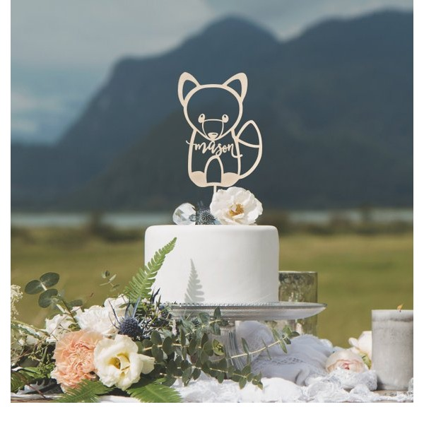 Personalized Birthday/Fox Acrylic/Wood Cake Topper