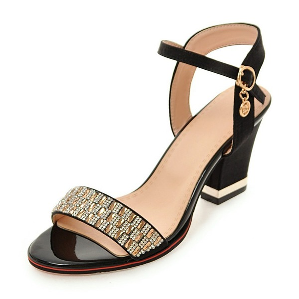 Women's Leatherette Chunky Heel Sandals Pumps Peep Toe Slingbacks With Rhinestone Buckle shoes