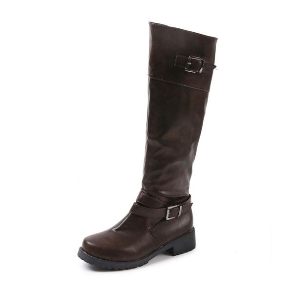 Mulheres PU Salto robusto Botas com Fivela sapatos