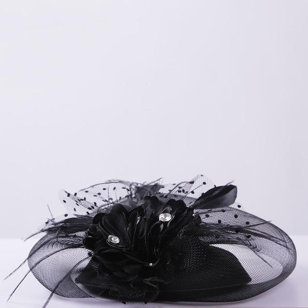 Filles Élégante Fil net/Feather Chapeaux