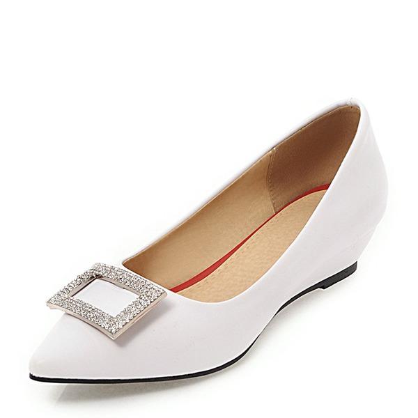 Kvinnor PVC Kilklack Kilar med Strass skor