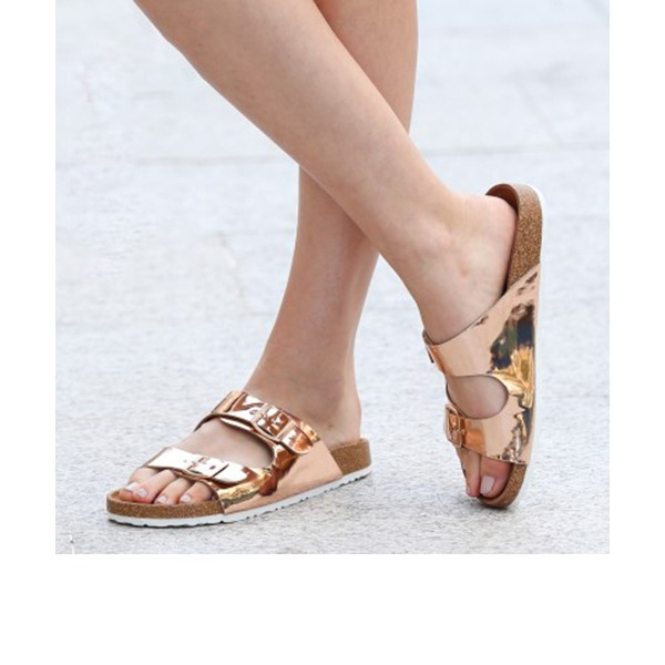 Women's PU Flat Heel Sandals Flats Peep Toe Slingbacks With Buckle shoes