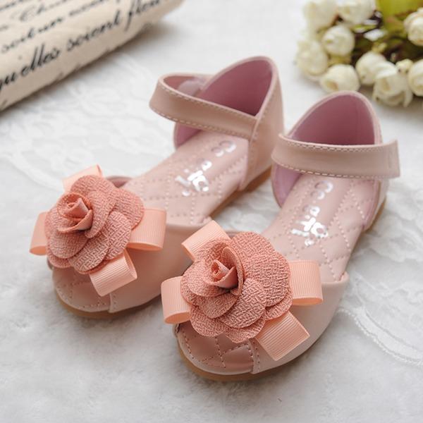 Jentas Titte Tå Leather flat Heel Flate sko Flower Girl Shoes med Bowknot Velcro Blomst