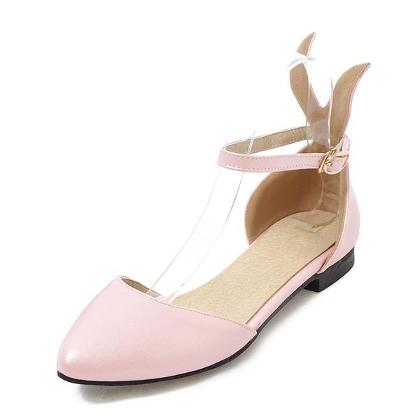 Frauen Kunstleder Flascher Absatz Sandalen Flache Schuhe Geschlossene Zehe Mary Jane mit Schnalle Schuhe