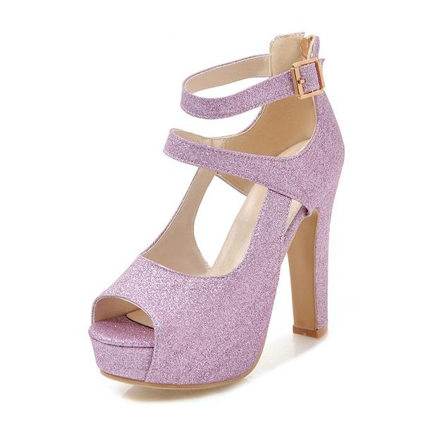 Kadın Köpüklü Glitter Kalın Topuk Sandalet Pompalar Platform Peep Toe Ile Toka ayakkabı