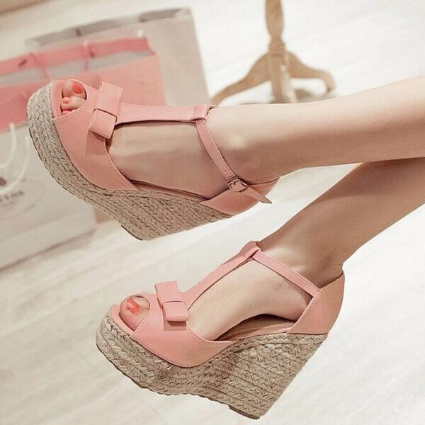 Vrouwen Kunstleer Wedge Heel Sandalen Pumps Wedges met Gevlochten Riempje schoenen
