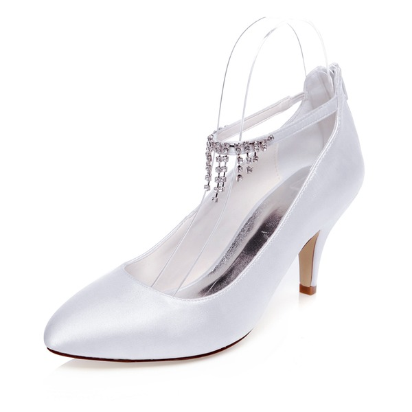 Vrouwen Satijn Stiletto Heel Closed Toe Pumps met Tassel