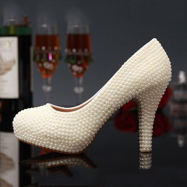 Women's Real Leather Stiletto Heel Closed Toe Platform Pumps With Imitation Pearl