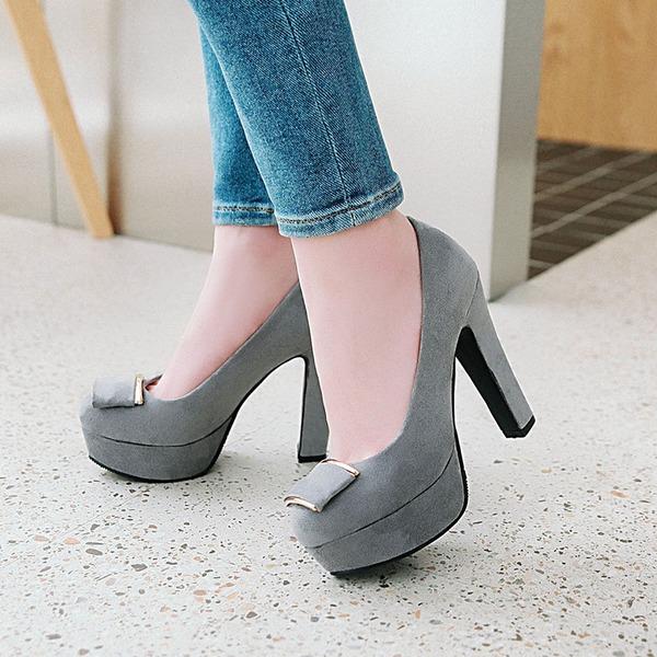 Vrouwen Suede Chunky Heel Pumps Plateau met Gesp schoenen