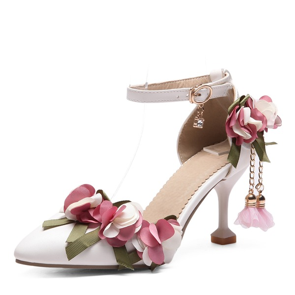 Frauen Kunstleder Stöckel Absatz Absatzschuhe mit Applikationen Blume Schuhe