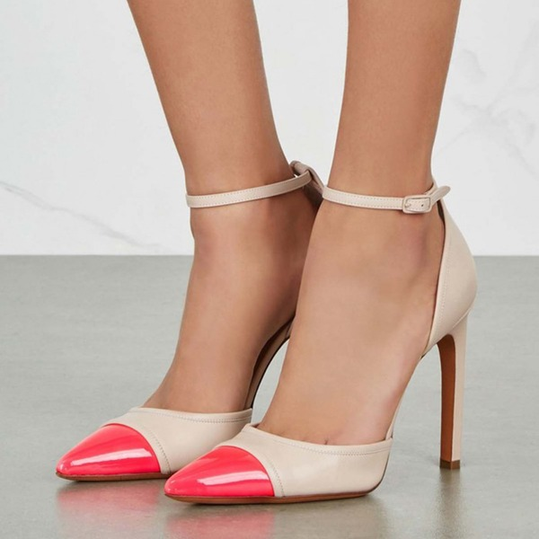 Kadın Suni deri İnce Topuk Pompalar Kapalı Toe Ile Toka ayakkabı