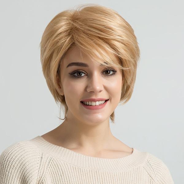 Kinky Straight Menschliches Haar Blend Echthaarperücken 80g