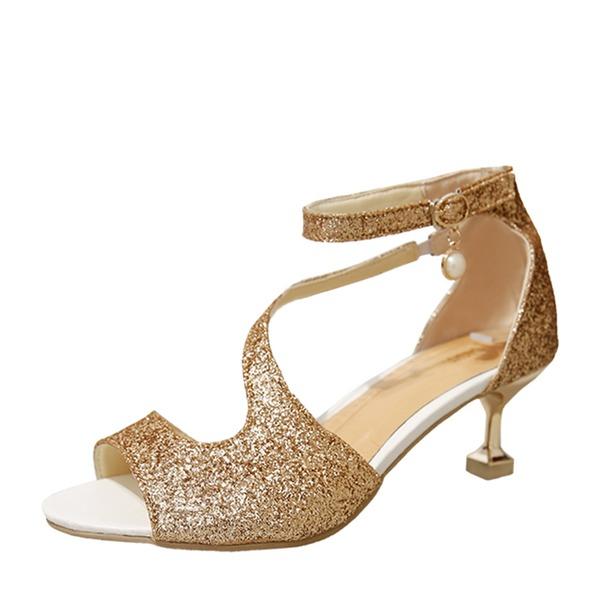 Donna Glitter scintillanti Tacco a spillo Sandalo Stiletto con Paillette scarpe