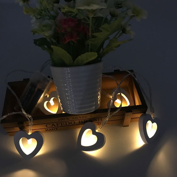 Enkel/Hjärta designen Härlig Trä LED Lampor (Säljs i ett enda stycke)