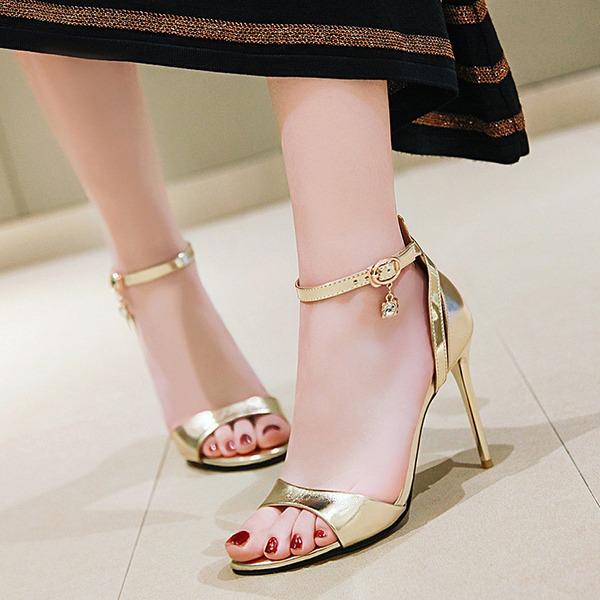 Women's Leatherette Stiletto Heel Sandals Pumps Peep Toe With Rhinestone Buckle shoes