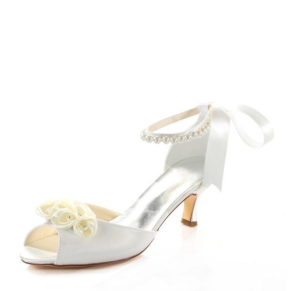 Kadın İpeksi Saten İnce Topuk Sandalet Ile Çiçek(ler) Kristal Inci