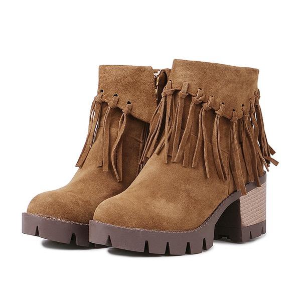 Kvinner Semsket Stor Hæl Ankelstøvler med Tassel sko