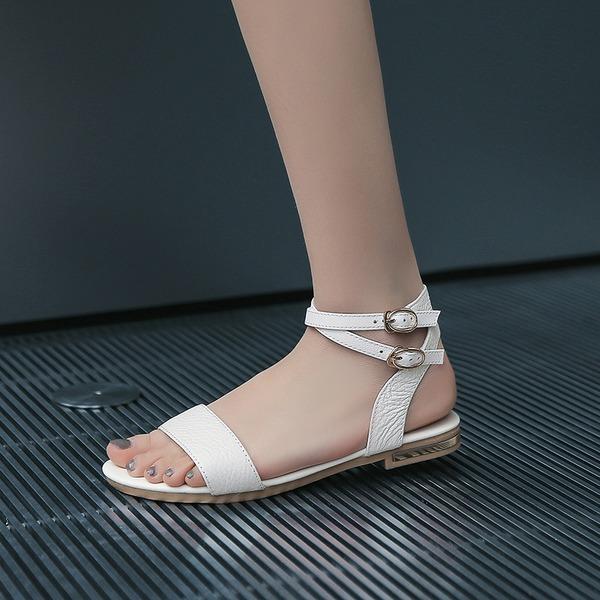 Femmes Vrai cuir Talon plat Sandales Chaussures plates À bout ouvert Escarpins avec Boucle chaussures
