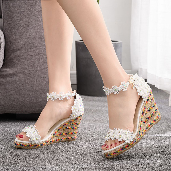 Kids' Leatherette Wedge Heel Flip-Flops Peep Toe Platform Sandals Wedges Beach Wedding Shoes With Sequin Flower Applique