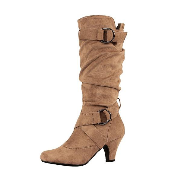 De mujer Ante Tacón bajo Botas Botas a la rodilla con Hebilla zapatos