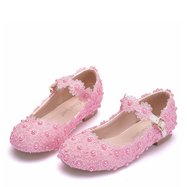 Girl's Round Toe Closed Toe Mary Jane Leatherette Flats With Buckle Imitation Pearl Applique