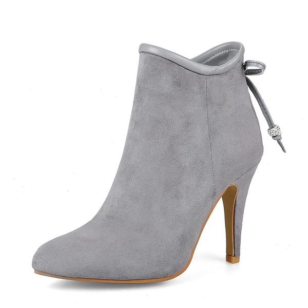 Mulheres Camurça Salto agulha Bombas Bota no tornozelo com Bowknot Zíper sapatos