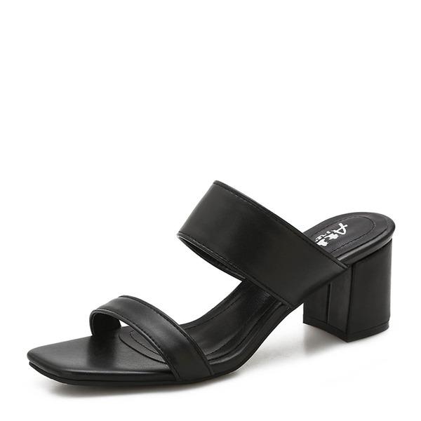 Frauen Microfaser-Leder Stämmiger Absatz Sandalen Absatzschuhe Peep Toe Schuhe