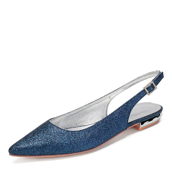 Dla kobiet Byszczący brokat Płaski Obcas Plaskie Sandały Z Stras/ Krysztal Górski Cekin Byszczący brokat