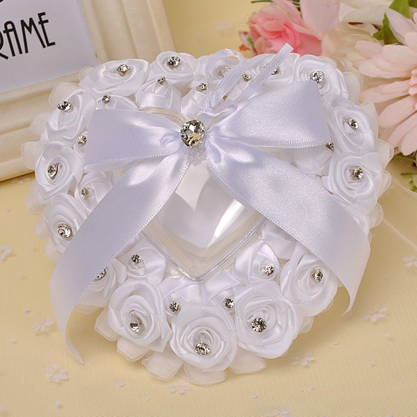 Lovely Ring Pillow in Polyester With Bow/Beading