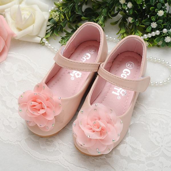 Mädchens Geschlossene Zehe Leder Flache Ferse Flache Schuhe Blumenmädchen Schuhe mit Satin Schleife Klettverschluss Kristall