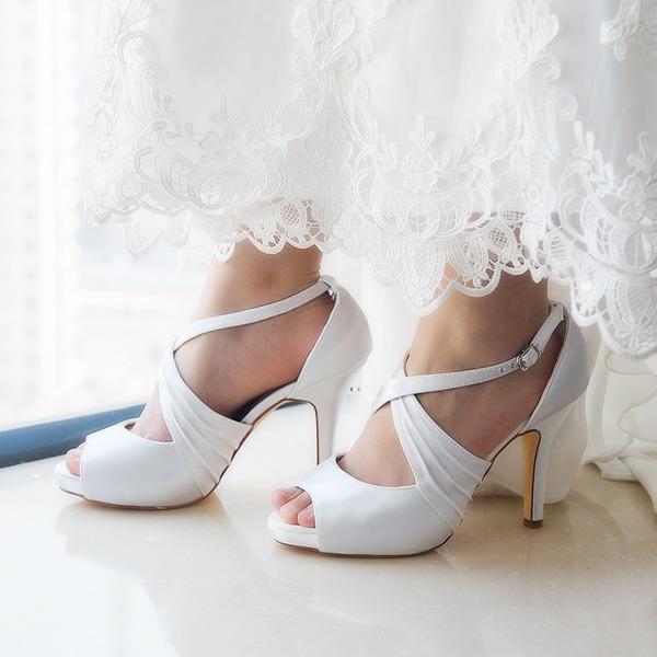 Kadın Saten İnce Topuk Terlikler Pompalar Sandalet Boyanabilir ayakkabılar