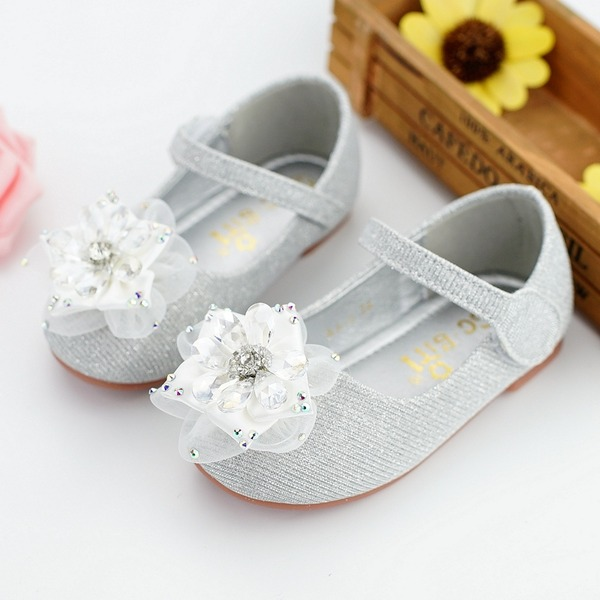 Muchacha Encaje Ballet plano Kunstleder Talón plano Planos Zapatos de niña de las flores con Rhinestone Velcro Flor