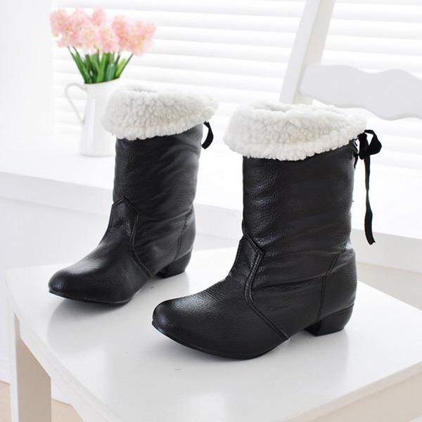 Femmes Similicuir Talon bas Bout fermé Bottes Bottes mi-mollets avec Bowknot chaussures