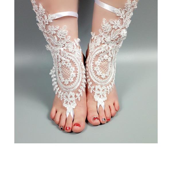 Kadın Dantel Peep Toe Sandalet Beach Wedding Shoes Ile Dikiş Danteli Çiçek(ler) Aplike