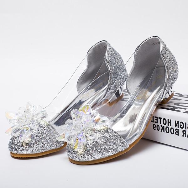 Muchacha Encaje Cuero de Microfibra El talón bajo Zapatos de niña de las flores con Rhinestone Brillo Chispeante