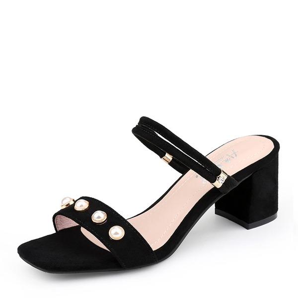 Kvinner Semsket Stor Hæl Sandaler Pumps Titte Tå med Imitert Perle sko