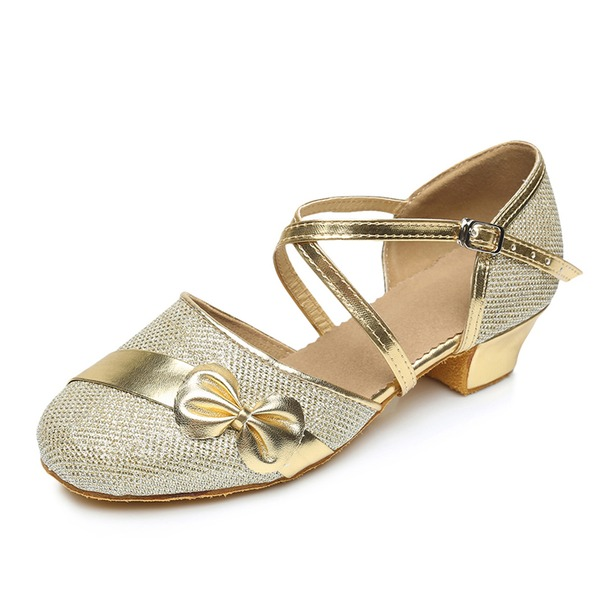 Kids' Leatherette Heels Pumps Ballroom With Ankle Strap Dance Shoes