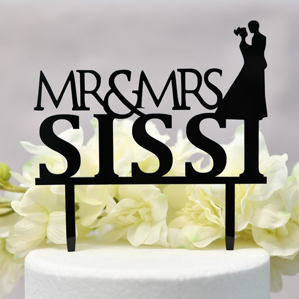 Personalized Classic/Mr. & Mrs. Acrylic Cake Topper (Sold in a single piece)