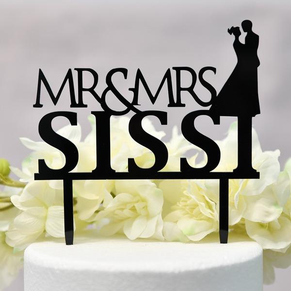 personnalisé Style Classique/Mr & Mrs Acrylique Décoration pour gâteaux (Vendu dans une seule pièce)