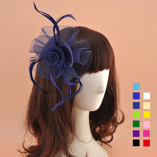 Senhoras Lovely Organza de com Pena Fascinators