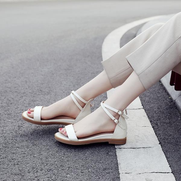 Kvinnor Äkta läder Kilklack Sandaler Platta Skor / Fritidsskor Peep Toe Slingbacks med Spänne skor