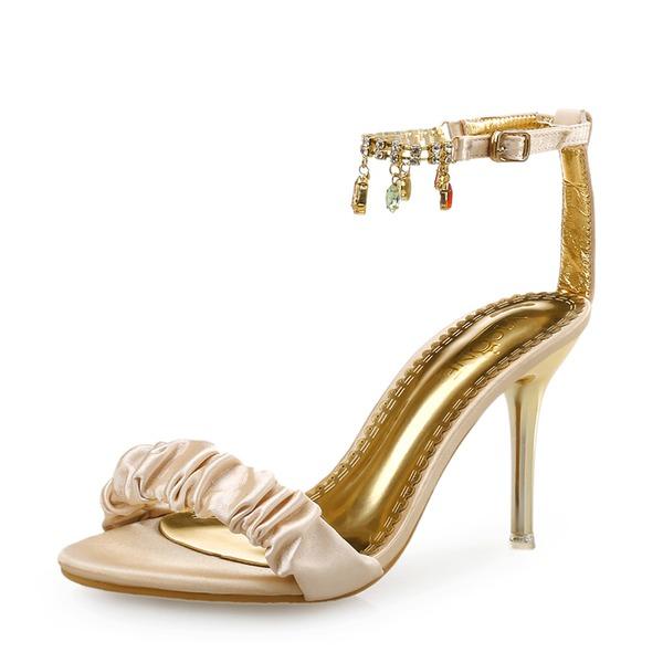 Vrouwen Zijde Stiletto Heel Sandalen Peep Toe met Roes Keten schoenen