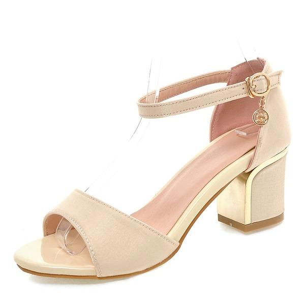 Vrouwen zijde als satijn Chunky Heel Sandalen Pumps Peep Toe met Gesp schoenen