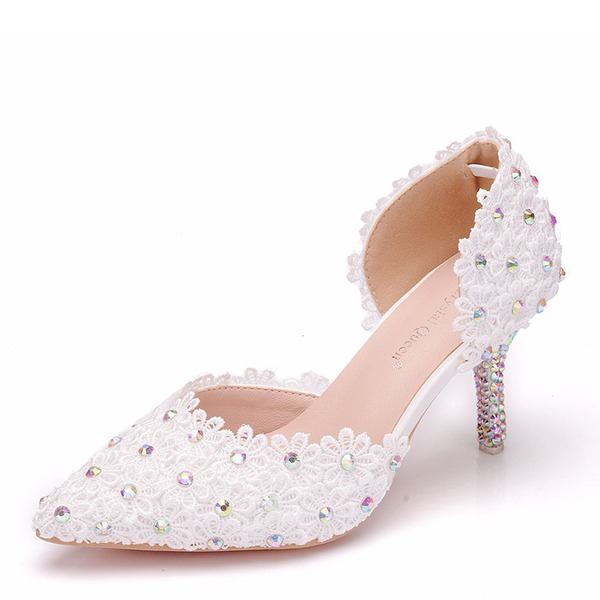 Women's Leatherette Spool Heel Closed Toe Pumps With Crystal Heel Applique
