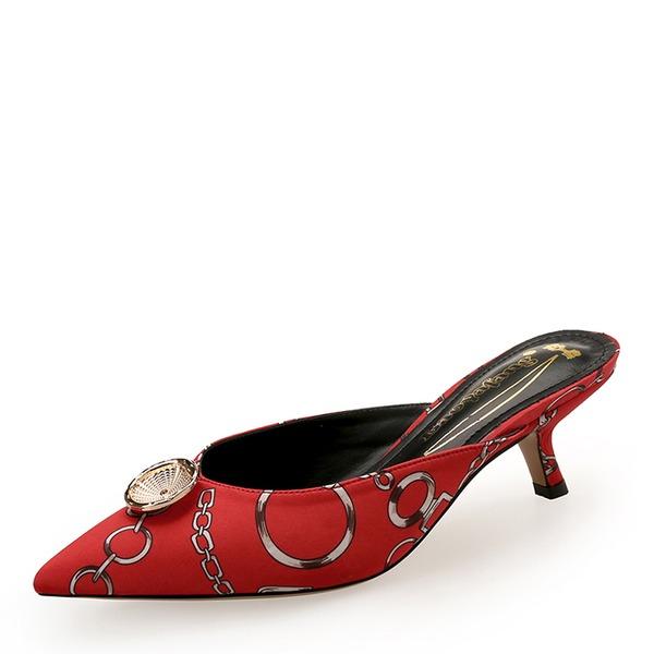 Donna raso di seta come Tacchetto Punta chiusa Con cinturino con Bottone scarpe