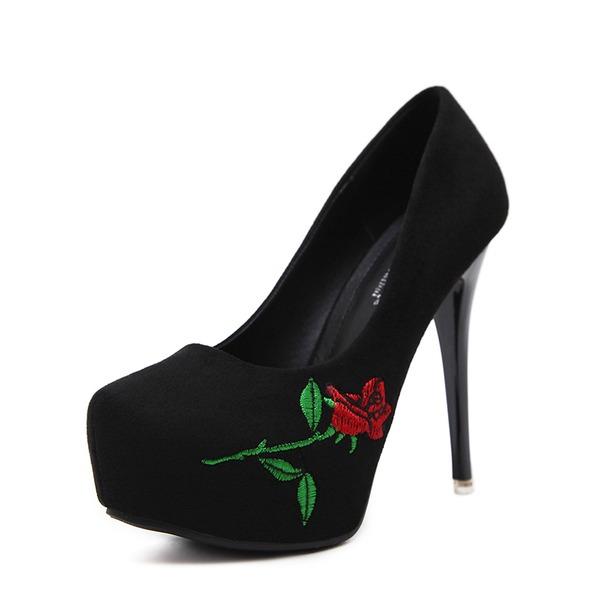 Donna Camoscio Tacco a spillo Stiletto Piattaforma Punta chiusa scarpe