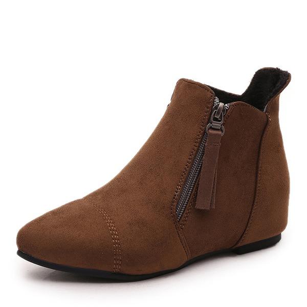 Femmes Suède Talon compensé Bottes Bottines avec Zip chaussures